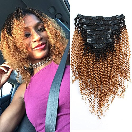 Beauty : AmazingBeauty Ombre 3C 4A Kinkys Curly Clip in Extensions - Double Weft Remy Human Hair for Black Women, 120 Grams, 7 pieces, Two Toned Natural Black Fading into Caramel Blonde, TN27, 18 Inch