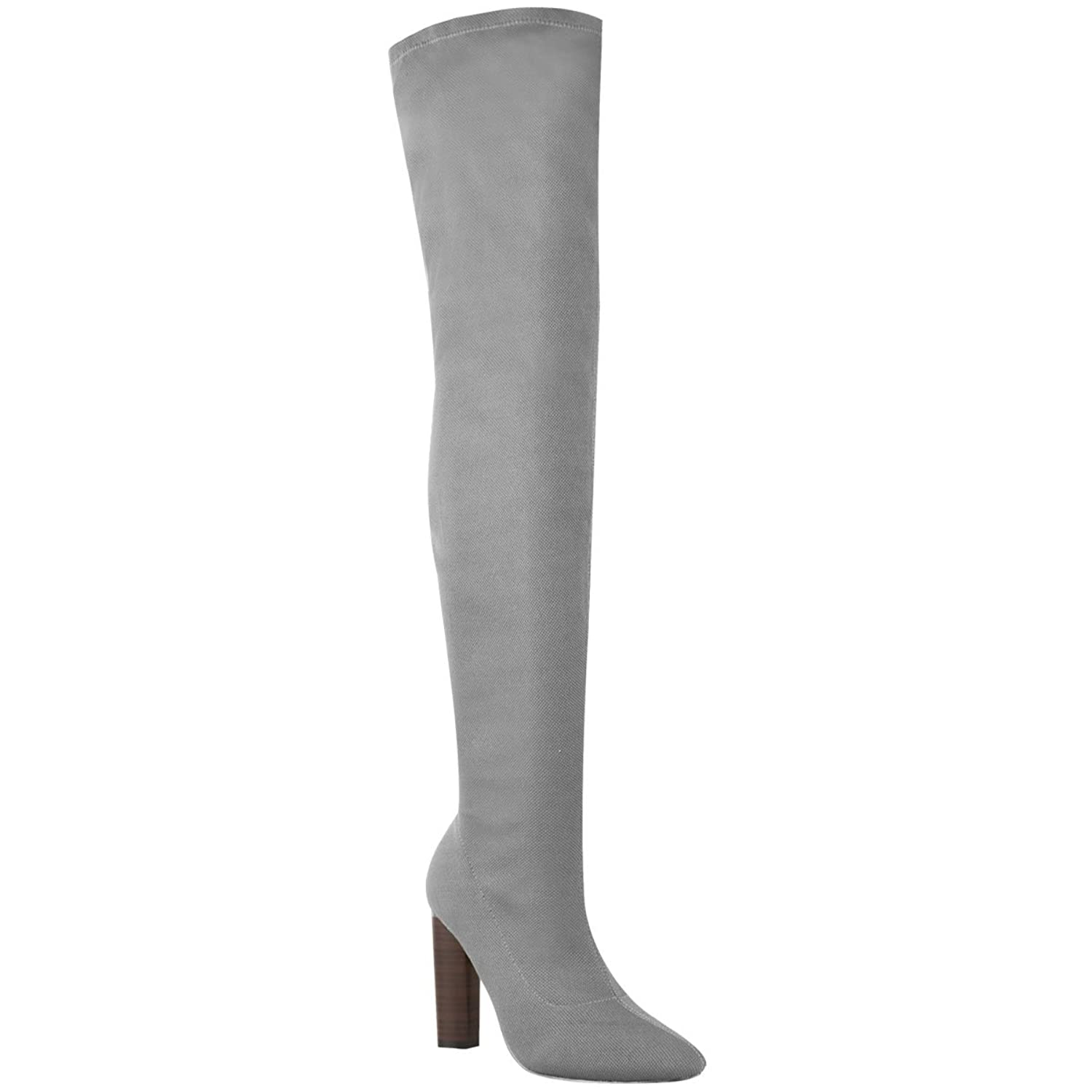 Fashion Thirsty Womens Thigh High Stretch Knit Boots Over The Knee High Heels Size