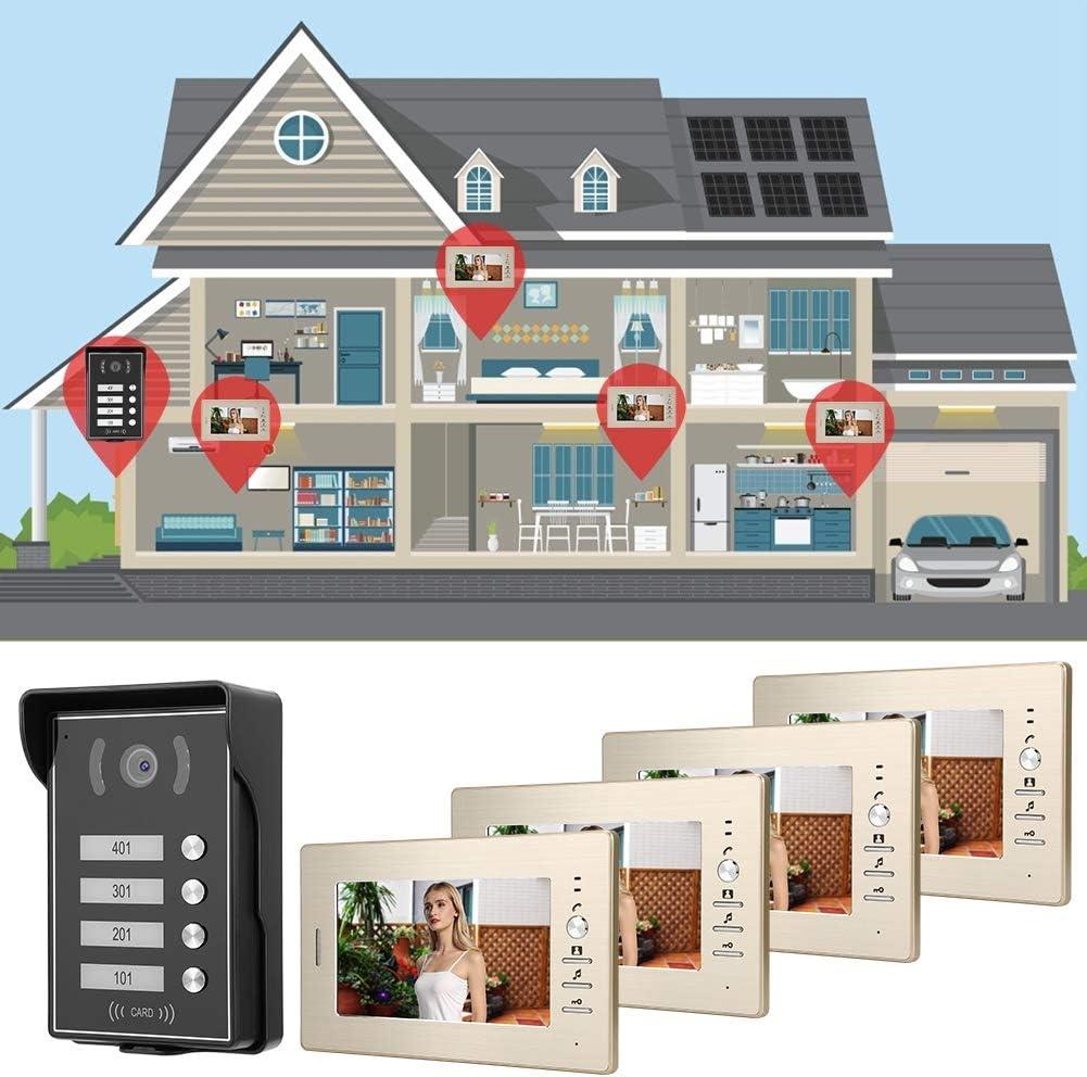European Standard Sistema de Timbre, AMONIDA Videoportero de 7 Pulgadas para 4 viviendas 110-240V