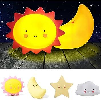 Lovely Cute LED Baby Kids Night Light Nursery Lamp Moon Star Sun Face Bedroom  Lamp Kids
