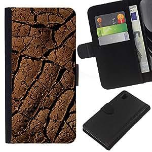 WINCASE Cuadro Funda Voltear Cuero Ranura Tarjetas TPU Carcasas Protectora Cover Case Para Sony Xperia Z1 L39 - líneas del desierto patrón de suelo sequía suciedad