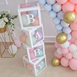 Baby Shower Boxes Party Decorations – 4 pcs Transparent Balloons Boxes Décor with Letters, Individual BABY Blocks Design for