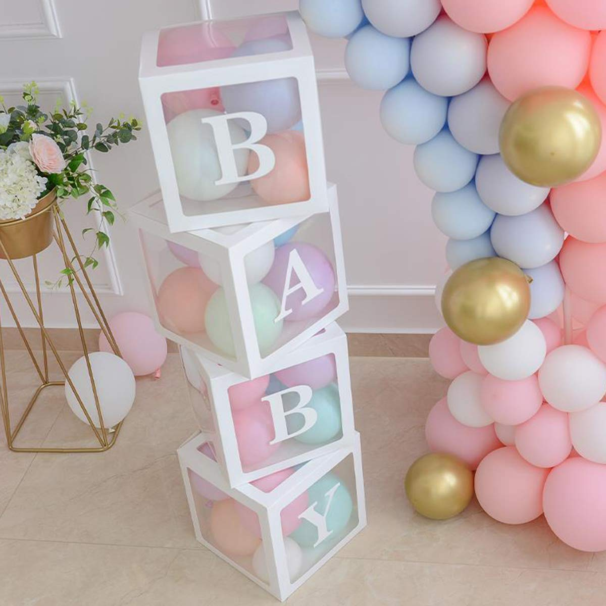 Baby Shower Boxes Party Decorations - 4 pcs Transparent Balloons Décor Boxes with Letter, Individual BABY Blocks Design for Boys Girls Baby Shower Bridal Showers Birthday Party Gender Reveal Backdrop by Mirooyu