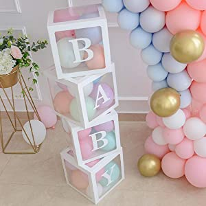 Baby Shower Boxes Party Decorations – 4 pcs Transparent Balloons Décor Boxes with Letter, Individual BABY Blocks Design for Boys Girls Baby Shower Bridal Showers Birthday Party Gender Reveal Backdrop