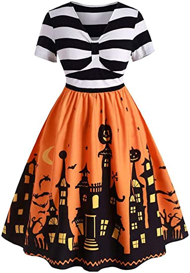 Vestido de Halloween, Cuello en V, Vestido Vintage con Nudos ...