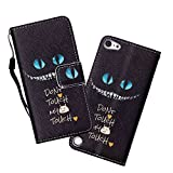 Touch 5/Touch 6 Case, WIITOP Flip for iPod Touch 5/Touch 6 Silicone Magnetic Stand Wallet Phone Cases Card Holder + Free Stylus(Blue Eyes)