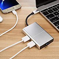 USB C Hub, OSCOO 5-in-1 USB C Adapter 3.1 with Type C Charging Port, Micro Card Reader, 2 USB 3.0 Ports for MacBook Pro 2015/2016/2017, Google Chromebook 2016 and more USB C Devices(Silver)