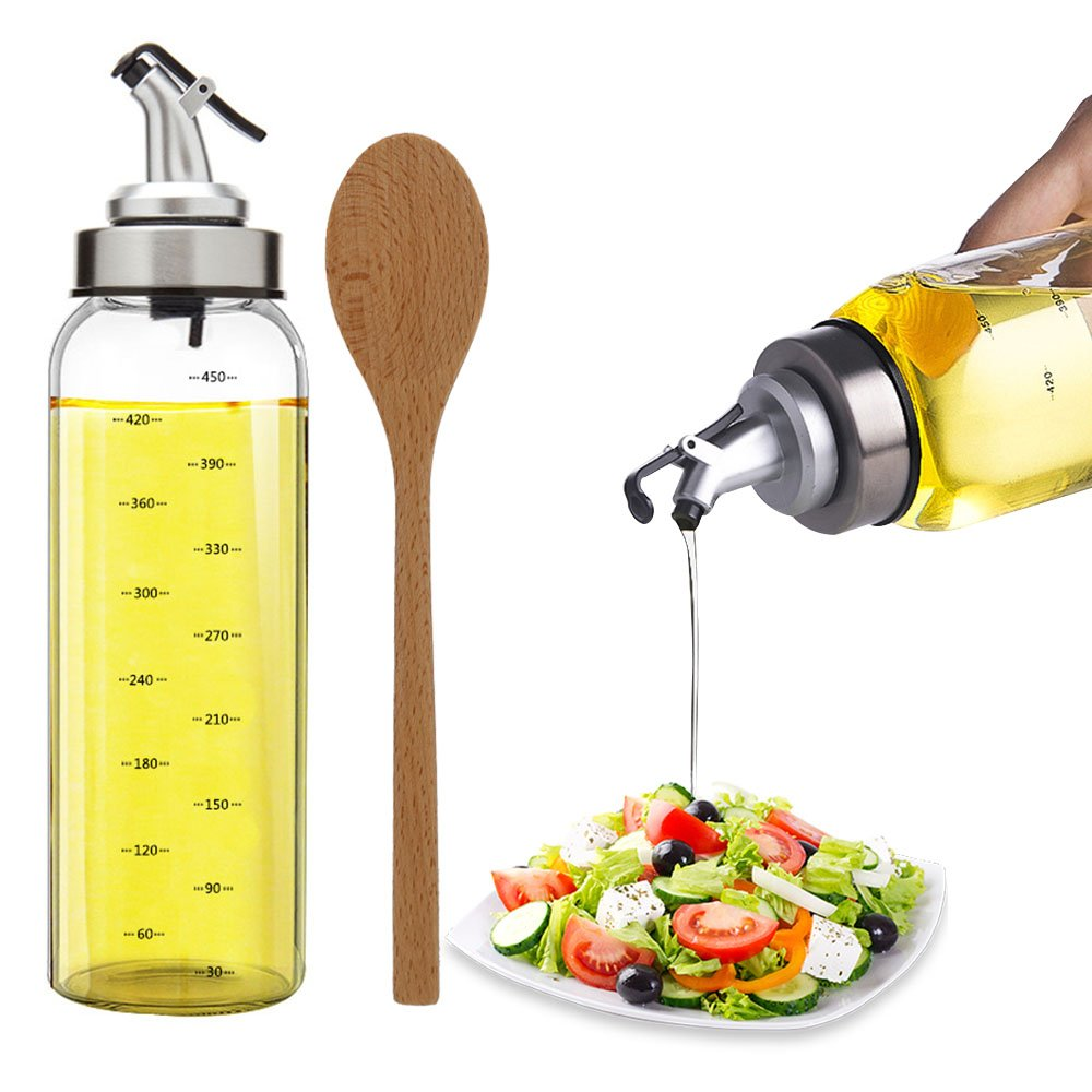 TIMGOU 17oz Olive Oil Dispenser with a 9.3'' Wood Salad Spoon, Lead-Free Glass Bottle Oil Container No Drip Pourer for Salad Dressing Cruets for Balsamic Vinegar, Soy Sauce