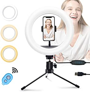 """YICOE LED Ring Light Kit 8"""" with Tripod Stand & Phone Holder, Dimmable Selfie Ring Light USB Desk Camera Ringlight for Live Streaming, Makeup, Photography, YouTube Videos, Shooting with 3 Light Modes"""