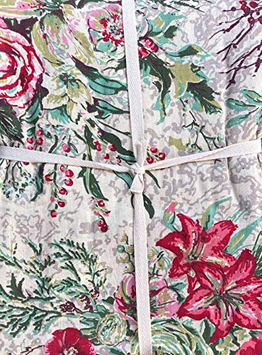 April Cornell Fabric Tablecloth Floral Bouquet Pattern Holly Berries Pines in Shades of Red Green Pink Gray on Cream - 70 Inches Round