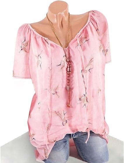 Roiper Mode Mujeres Manga Corta Camiseta (Muselina de Seda ...