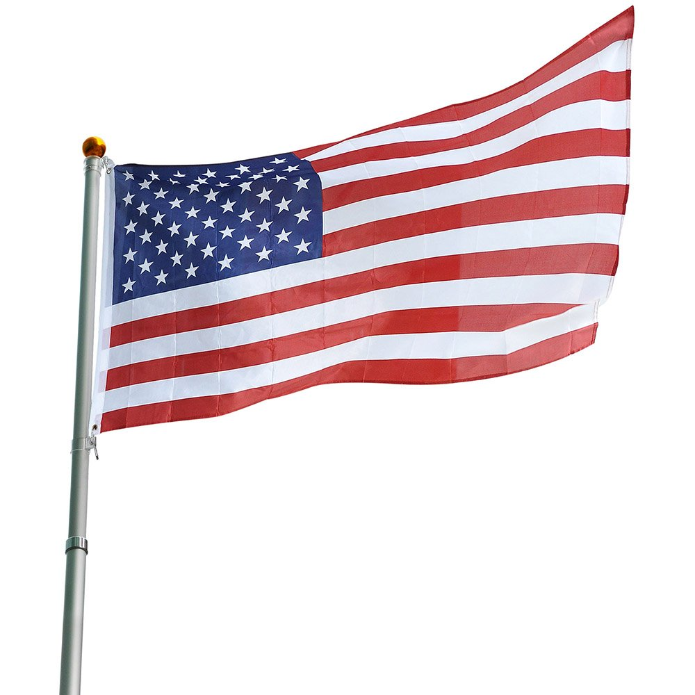 VINGLI Upgraded 16ft Telescopic Flagpole Kit, Heavy Duty Aluminum Flag Pole Fly flags, with 3'x5' American Flag & Topper ball for Residential or Commercial Home Décor, Tangle Free Spinning Outdoor