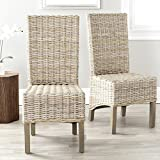 Safavieh Home Collection Pembrooke Wicker Side Chairs, Antique Grey, Set of 2 For Sale