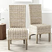 Safavieh Home Collection Pembrooke Wicker Side Chairs, Antique Grey, Set of 2