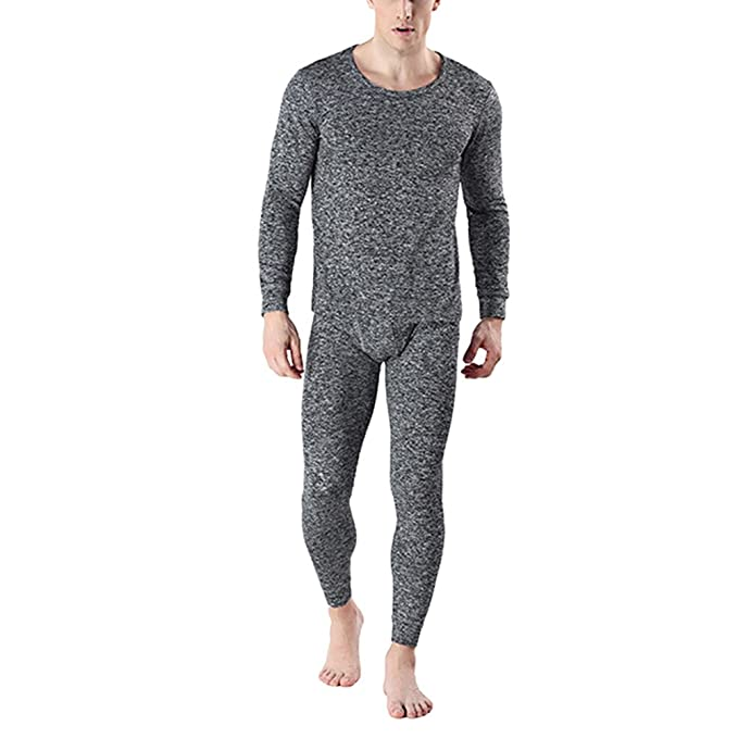 Zhhlinyuan Ropa interior térmica para hombre Mens Winter Warm Outdoor Camping Thermal Underwear Set Long Sleeves Striped Round Neck Soft Cotton Halloween ...