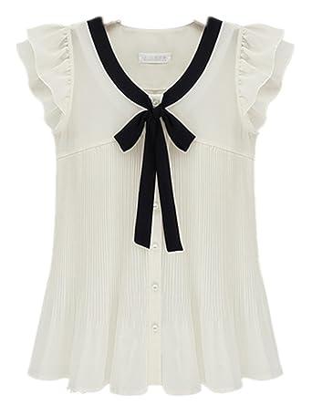Summer Women's Loose Chiffon Short-sleeve Ruffle Sleeve Solid Bow ...