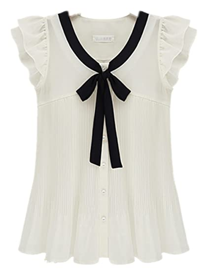 933e6ca8ee2a2e Summer Women's Loose Chiffon Short-sleeve Ruffle Sleeve Solid Bow Top  Blouse Shirt (M, White) at Amazon Women's Clothing store: