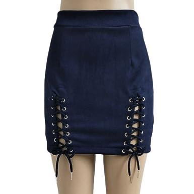 Sexy Bodycon Mini Falda Fiesta Alta Cintura Faux Cuero Zip Corto ...