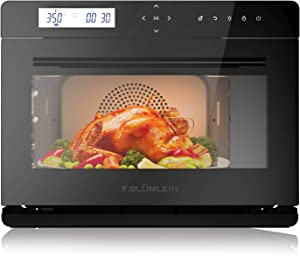 F.Blumlein JU-3200 10-in-1 Steam Convection Oven, Air-Plus Technology, Large Capacity 1.1Cu Ft, 32.2 Oz Large Water Tank, Black
