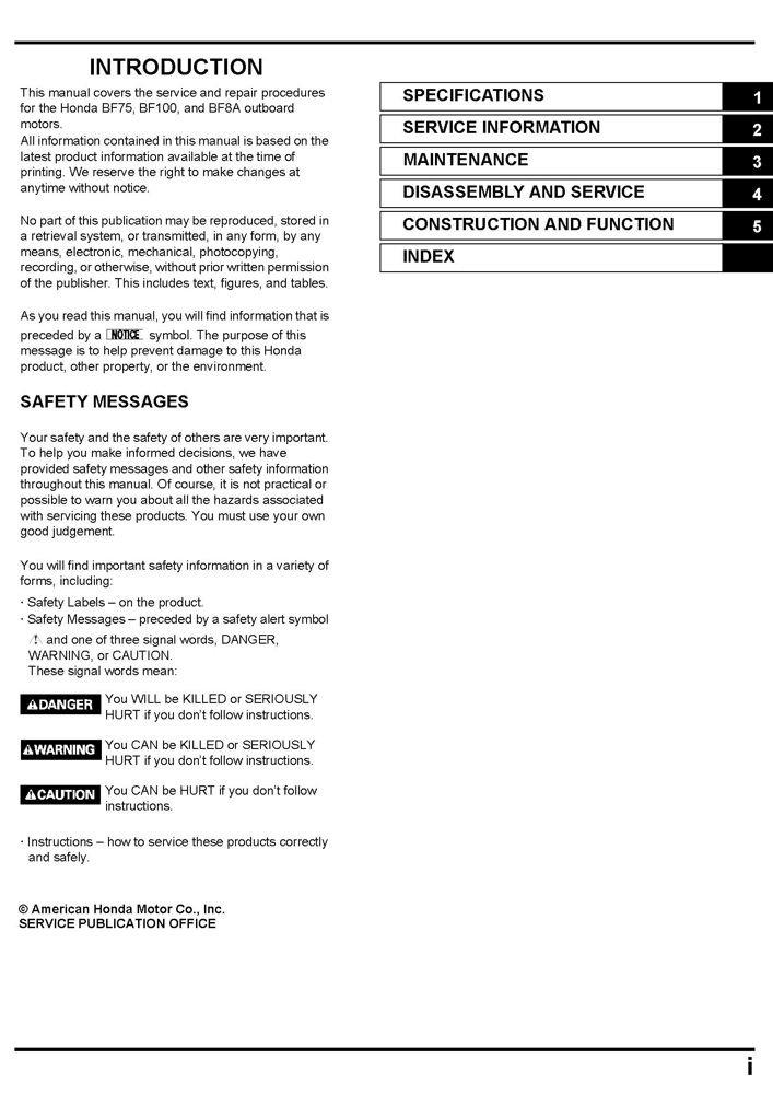 amazon com honda bf75 bf100 bf8 marine outboard service repair rh amazon com Tractor Shop Manuals I&T Shop Manuals