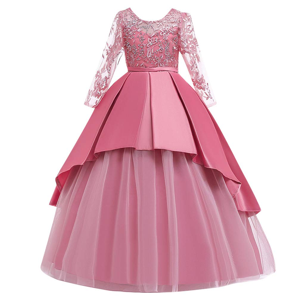 Sameno Girls Embroidery Flower Princess Dress 5-14t Bow Lace Tulle Overlay Pageant Party Formal Evening Maxi Ball Gown Pink by SamXmasBaby