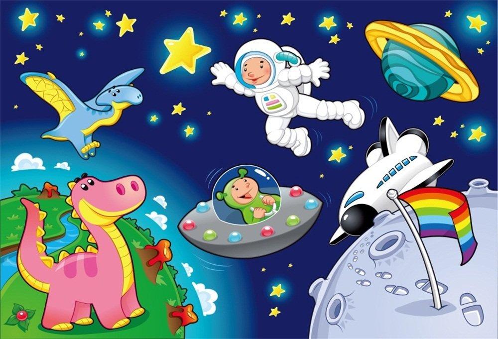 LFEEY 9x6ft Cartoon Fantasy Space Scene Backdrop Stars Planet Spaceship  Animals Little Astronaut Spaceman Boy Birthday Party Photography Background