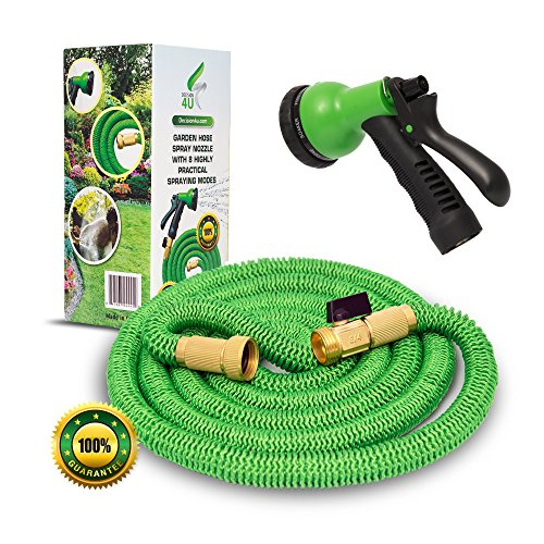 25' Feet Expandable Garden/Water Hose By DECISION 4U | Enjoy The Most Durable, Long-Lasting Watering Hose | 3/4' USA Standard BRASS Connector | Extra Strong Fabric| Kink-Free | FREE Hose Sprayer