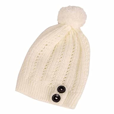 Kingko® Fashion Women Lady Winter Warm Crochet Knitted Hat Flower  Decoration Winter Hat Warm Cap to Protect Head and Ears (Beige)  Amazon.co. uk  Clothing d0efb3ec7706