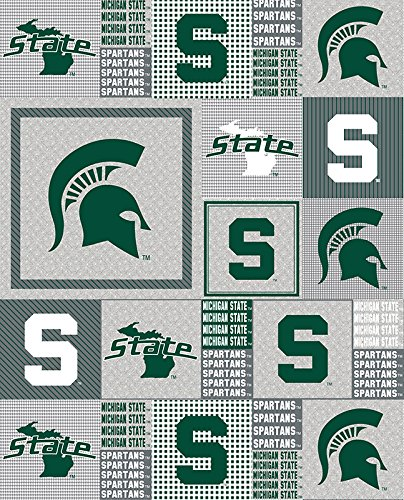 NCAA Licensed Michigan State University Spartans Grey Box Fleece Fabric 60'' Width Sold By The Yard