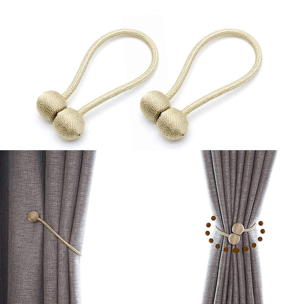 JQWUPUP Magnetic Curtain Tiebacks - Classic Decorative Drapery Drape Holdback Holders - Curtain Tie Backs Clips Rope for Sheer and Blackout Panel (2 Pieces, Beige)