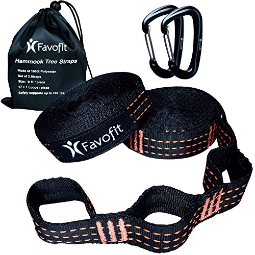 Favofit Camping Hammock Straps Set | XL Hammock Tree Straps for Outdoor Hiking Backpacking Travel Indoor | Heavy Duty & Ultralight Hammock Suspension Hanging Kit | with Carabiners on Premium Models