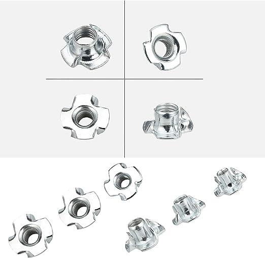 zincati per artigiani dadi a T 40 dadi a T zincati a 4 punte lavorazione del legno M6 x 18 mm per mobili e supporti a rullo dilettanti