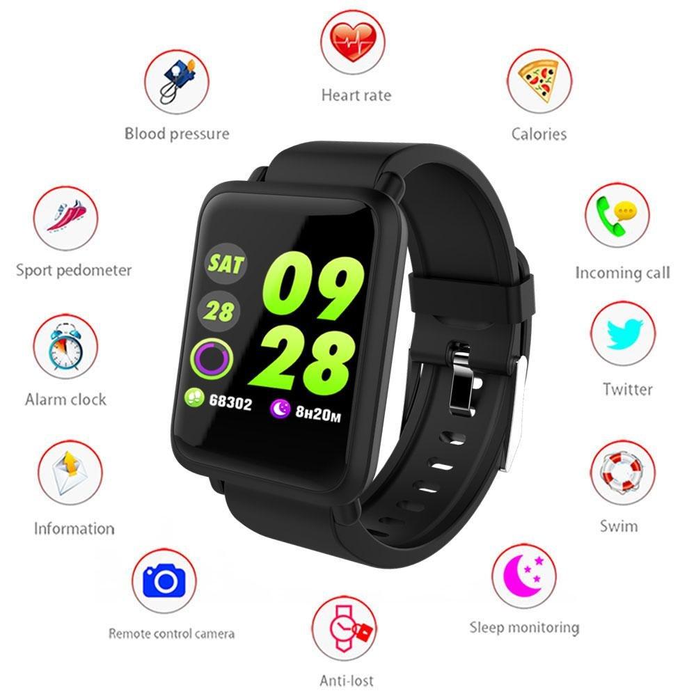 Sport Montre Connectée pour Femme Homme Enfant,Smartwatch Bracelet Connecté Écran Couleur Cardiofréquencemètre Podometre Cardio Fitness Tracker dActivité ...