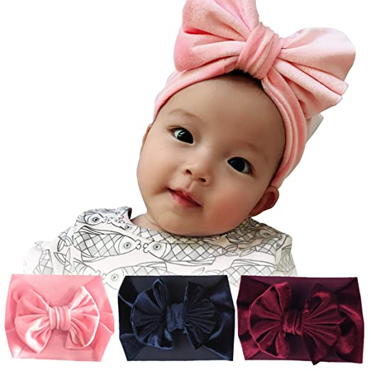 vanberfia Super Stretchy Knot Nylon Baby Headbands For Newborn Baby Girls  Infant Toddlers Kids 3PCS ( 374d0f135d1