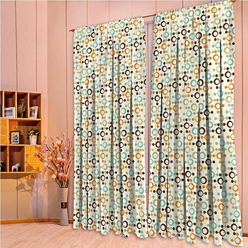 ZHICASSIESOPHIER Modern Style Room Darkening Blackout Window Treatment Curtain Valance for Kitchen/Living Room/Bedroom/Laundry,Figures with Circles and Dots Science Lab Theme 108Wx63L Inch (Circle Valance Dot)