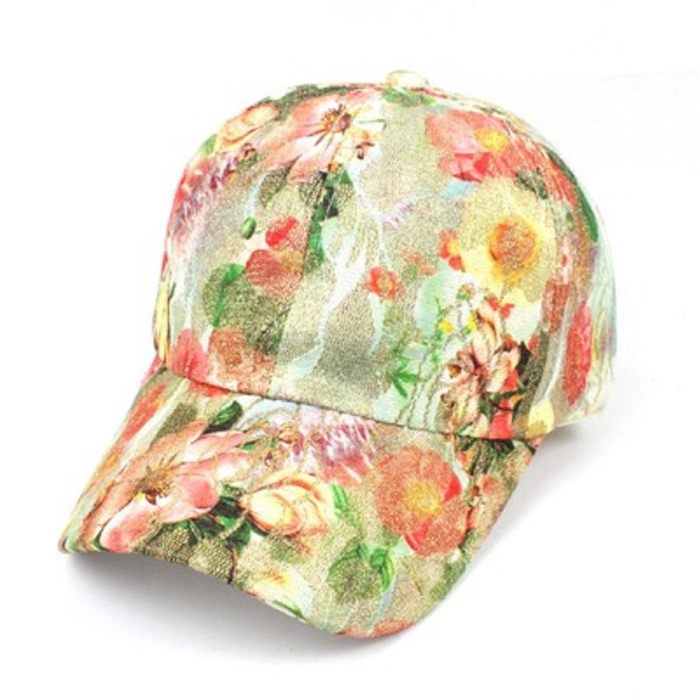 Leisial Women Baseball Cap Sequins Floral Print Hip-hop Style Sun Hat KIG18141539GA1103