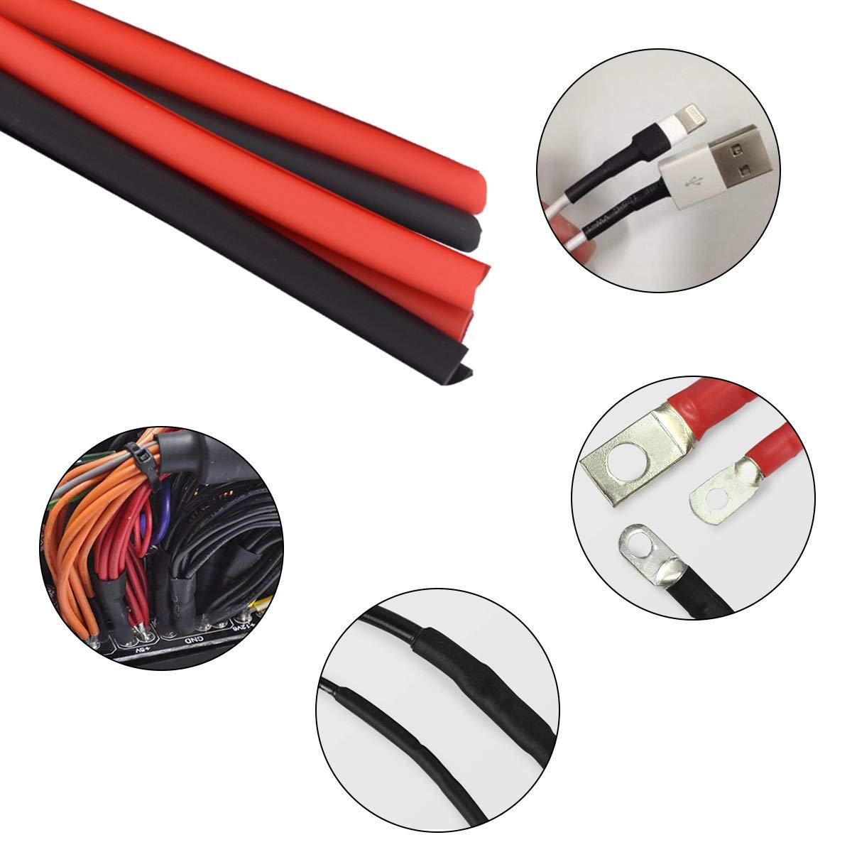 1,Conectores Electricos,Cinta Aislante Protecci/ón el Cable Rojo 1.5M),5mm-14mm Varios Di/ámetros Funda Termoretractil,3 Metros(Negro 1.5M Tubo Termorretr/áctil Aislamiento Poliolefina 2