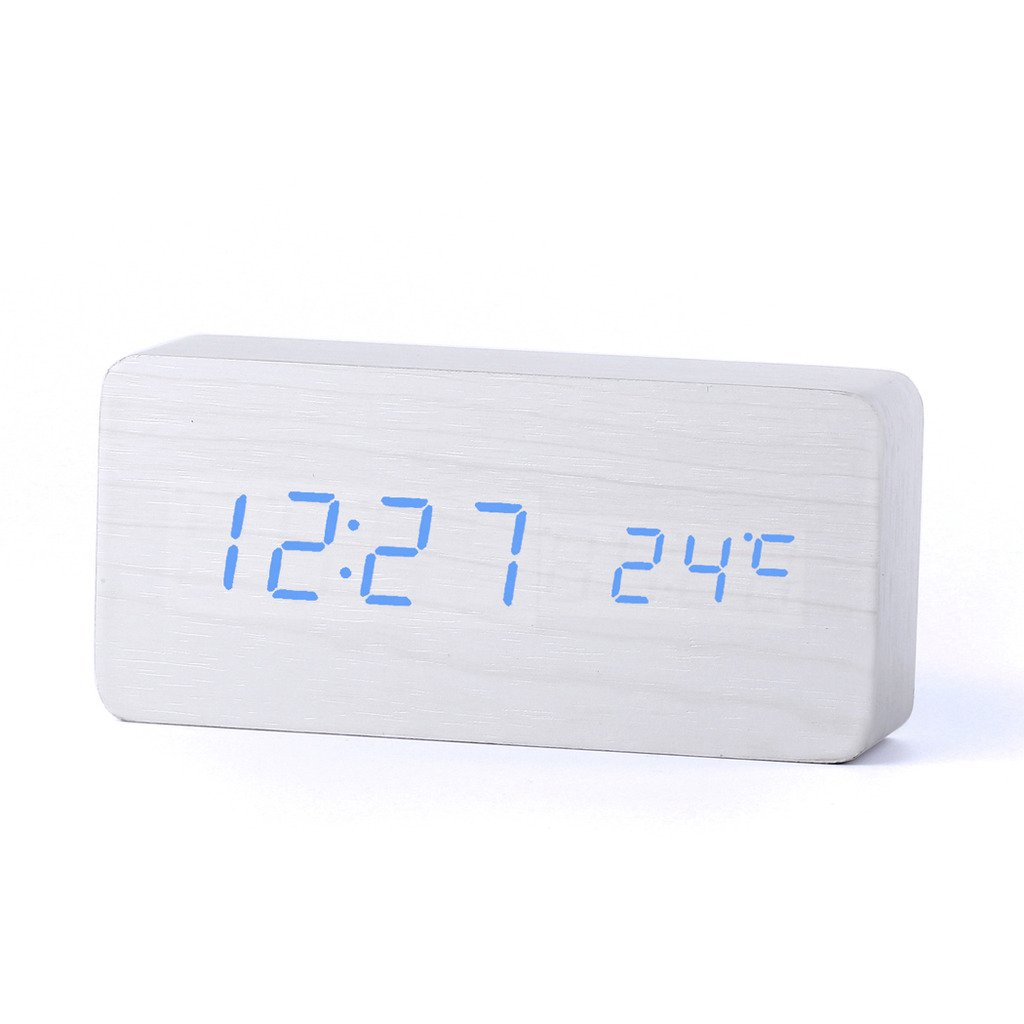 fengus AAA/USB White Silent LED Alarm Snooze Clock Date Temperature Calendar Thermometer Display with Sound Control Sensor Light + Nightlight ( Automatically adjust the brightness at night) Cuboid --- blue light