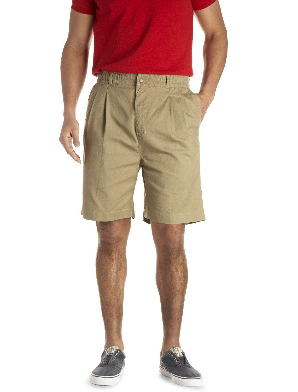 Creekwood By DXL Big and Tall Elastic-Waist Pleated Twill Shorts, Khaki 42 Reg