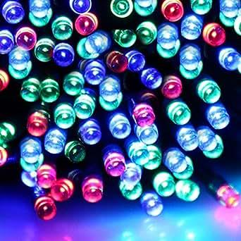 Marswell 12M Cadena de luces 100LED para exteriores con alimentación solar fiesta boda Navidad Luz del árbol del jardín de la decoración (Colorized)