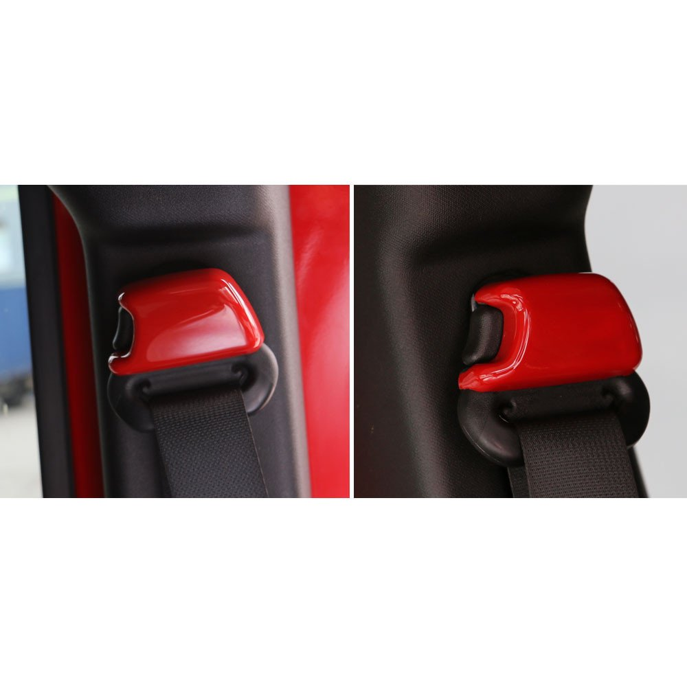 Highitem 4Pcs//Set ABS Car Seat Safety Belt Buckle Cover Trim Cap Set Decoration Car Styling Covers Fits for Jeep Wrangler 2008-2017 Red