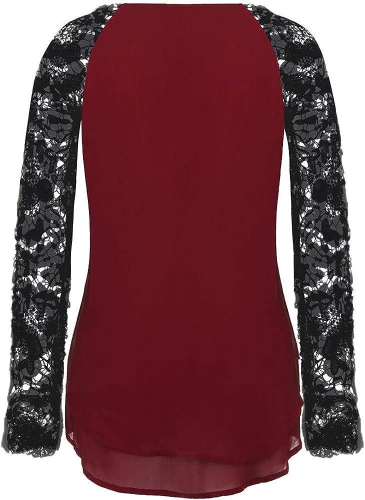 Luckycat Moda Camisa de Manga Larga para Mujer Blusa de Encaje Casual Algod/ón Suelto Tops Camiseta