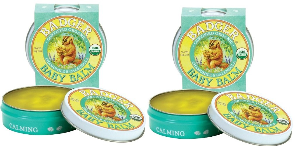 Badger Baby Balm Organic Baby Skin Care With Olive Fruit Oil, Castor Seed, Beeswax and Calendula Flower Extract, 2 oz. (Pack of 2)