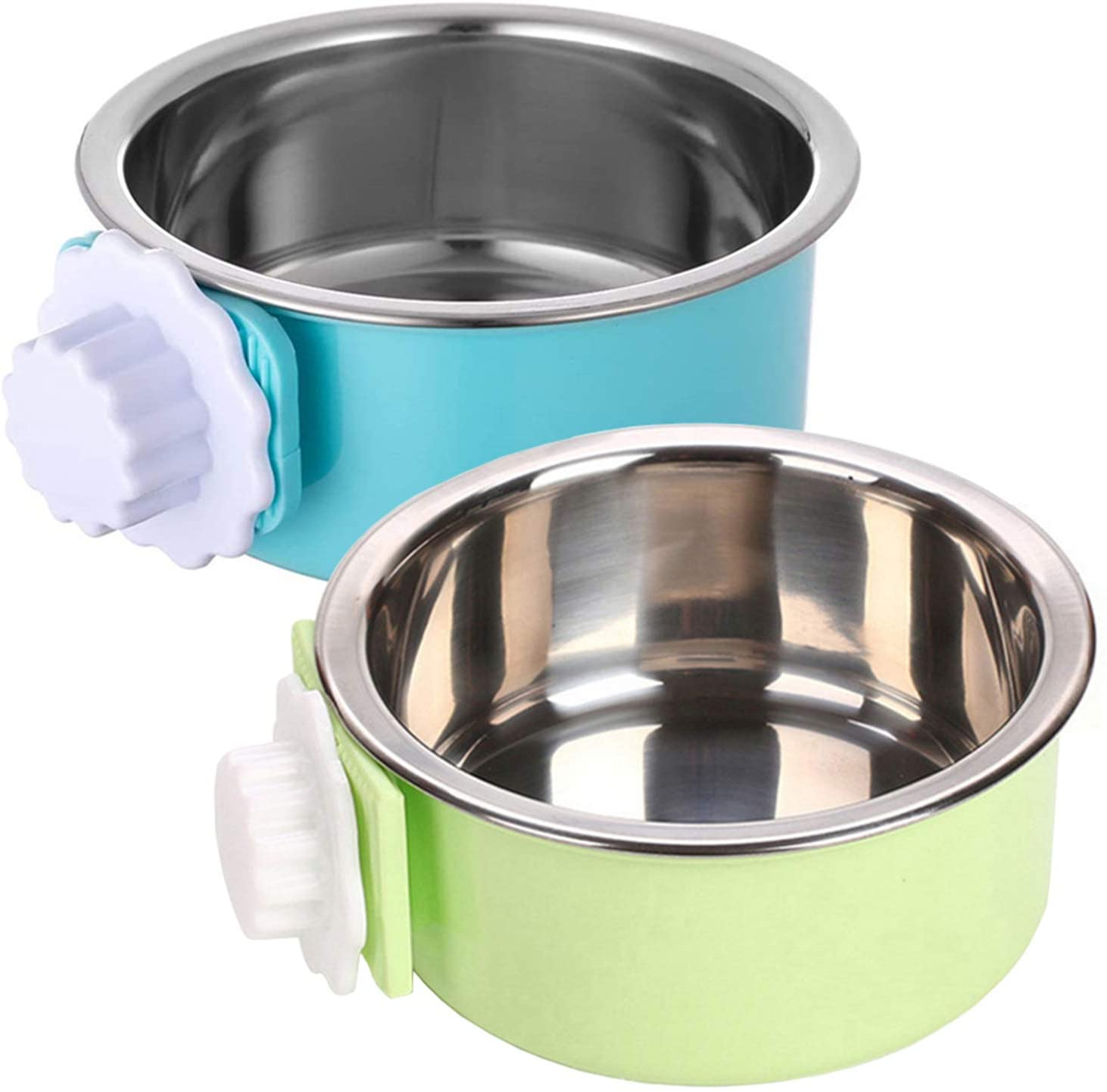 kathson Crate Dog Bowl, Removable Stainless Steel Hanging Pet Cage Bowl Food & Water Feeder Coop Cup for Cat, Puppy, Birds, Rats, Guinea Pigs