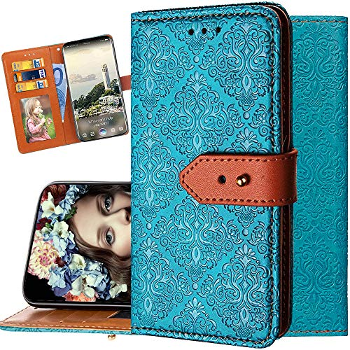 iPhone XR Wallet Case for Women,Auker Folding Stand Folio Flip Vintage Leather Embossed Wallet Purse Case with Card Holder&Money Pocket Shockproof Full Body Drop Protective Case for iPhone XR (Blue)