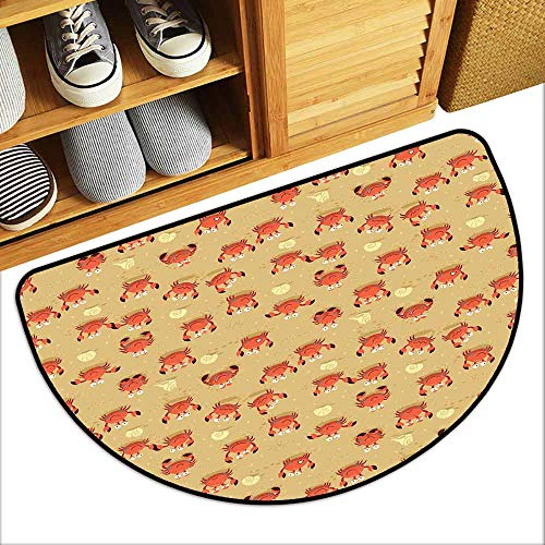 YOFUHOME Crabs Printed Door mat Playful Childish Sea Animals on a Sandy Beach with Shells Kids Design Fauna Breathability W31 x L19 Pale Brown Orange