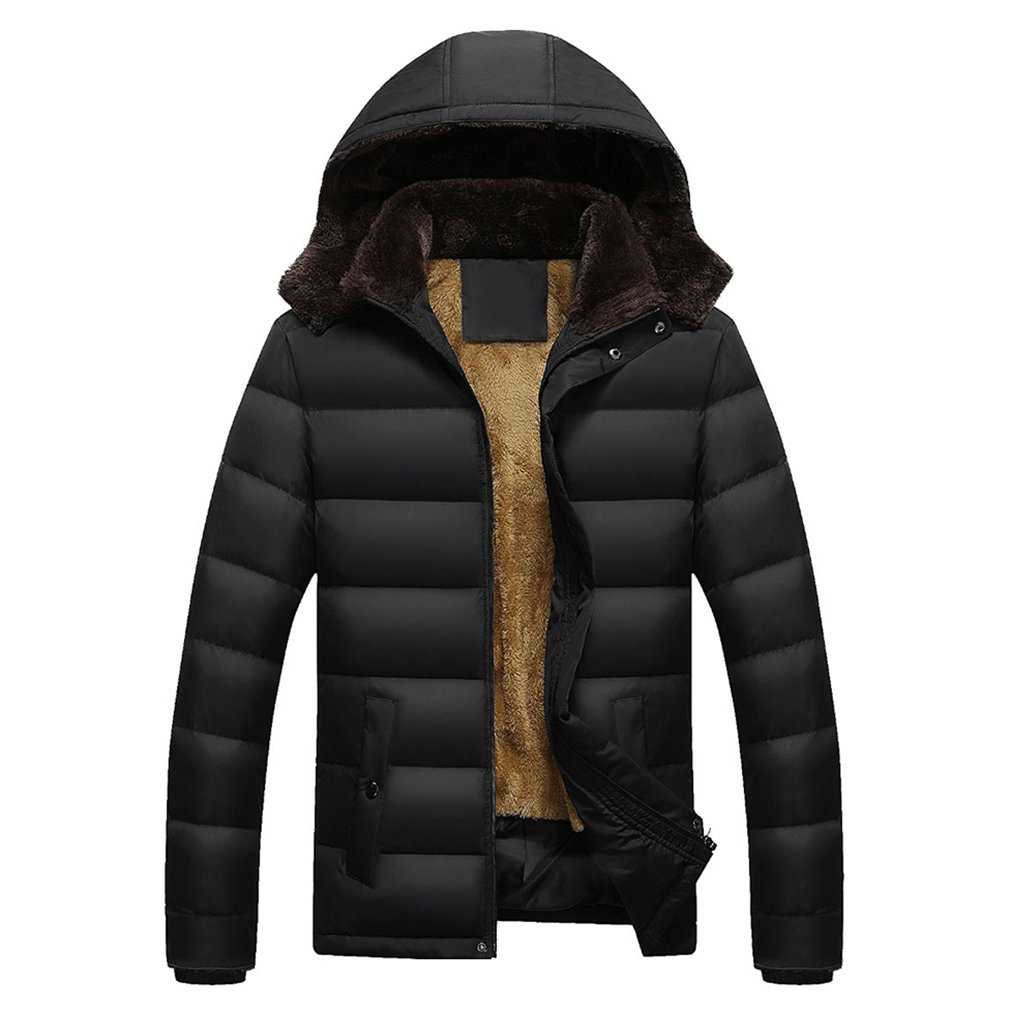 PHerMAN Men's Waterproof Fleece Ski Jacket Windproof Down Coat Puffer Jacket with Removable Hood (US XL/Tag 4XL, Black)