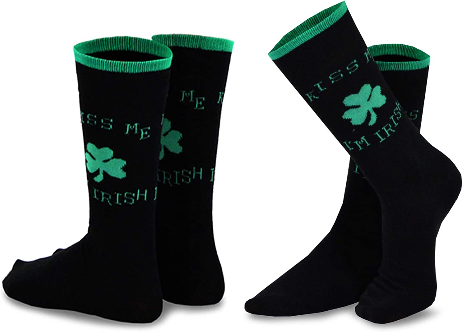TeeHee St Patricks Day Woman and Man Couple Cotton Crew Socks 2-Pack