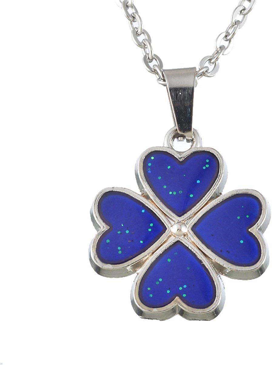 K-Y collar con colgante de pétalos de trébol sensible al calor que cambia de color para mujeres y niñas Fanshion Jewelry