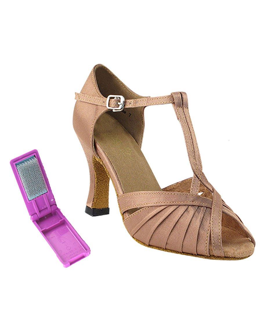 Very Fine Ballroom Latin Tango Salsa Dance Shoes for Women - 2707-2.5 Inch Heel and Foldable Dance Shoe Brush Bundle - Brown Satin - Size - 9.5